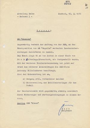 """Bericht von IME """"Klaus"""" über Untersuchungen am Wrack des DSR-Frachtschiffs MS """"Capella"""""""