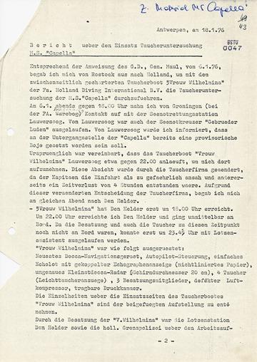 """Bericht über Taucheruntersuchungen am Wrack des gesunkenen DSR-Frachtschiffs MS """"Capella"""""""