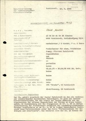 Auskunftsbericht zu einem nach Direktive 1/67 zu isolierenden DDR-Bürger