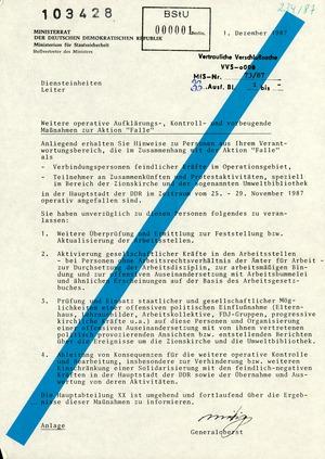 """Weitere """"operative Aufklärungs-, Kontroll- und vorbeugende Maßnahmen"""" zur Aktion """"Falle"""""""