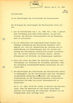 """Anweisung von Staatssekretär Halbritter an die """"Beauftragten des Ministerrats"""" zum Stopp der Aktenvernichtung"""