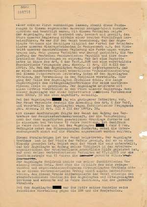 Urteil gegen Wilhelm Grothaus und andere Angeklagte vom Volksaufstand 1953 in Dresden