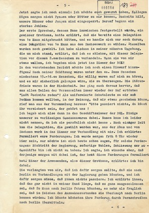 Bericht des Politikers Otto Buchwitz über die Demonstration im Sachsenwerk