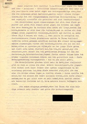 Protestbrief gegen das Todesurteil gegen Hermann Joseph Flade