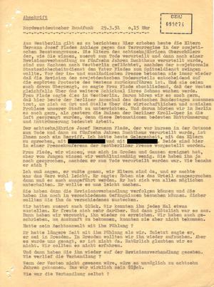 Abschrift eines Radiointerviews mit den Eltern Hermann Joseph Flades