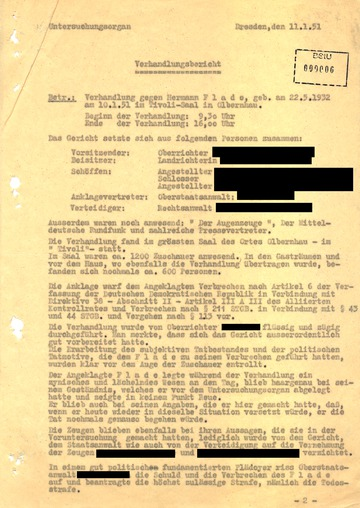 Bericht über die Verhandlung gegen Hermann Joseph Flade