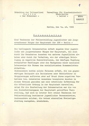 """Dokumentation über """"Tendenzen der Fehlentwicklung"""" Jugendlicher in der DDR"""