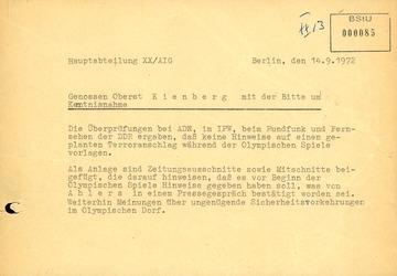 Information zu Hinweisen über den Terroranschlag während der Olympischen Spiele 1972