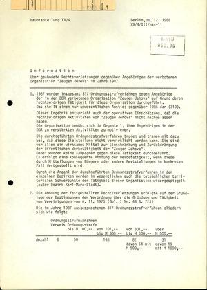 Information über geahndete Rechtsverletzungen von Zeugen Jehovas 1987