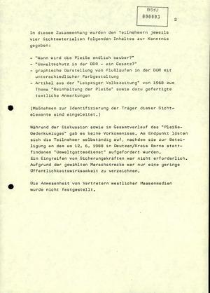 """Hinweis zu einem """"Pleiße-Gedenkumzug"""" anlässlich des Weltumwelttages am 5. Juni 1988 in Leipzig"""