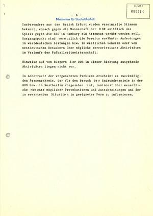 Hinweise auf Terrordrohungen zur Fußball-Weltmeisterschaft 1974