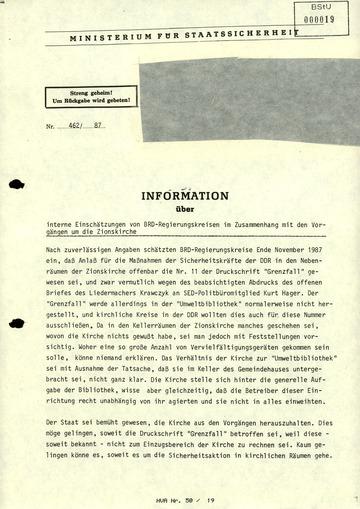 Information über interne Einschätzung von BRD-Regierungskreisen im Zusammenhang mit den Vorgängen um die Zionskirche