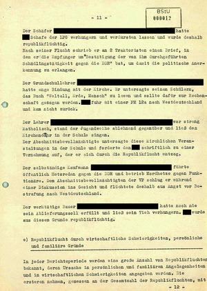 Bericht über Republikfluchten im November 1956
