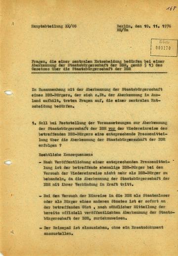 Offene Fragen zur Ausbürgerung Wolf Biermanns