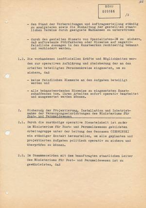 """Maßnahmeplan der """"politisch-operativen Sicherung"""" im Rahmen der Aktion """"Metropole"""""""