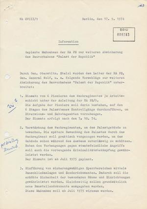 """Information über geplante Maßnahmen zur weiteren Absicherung des Bauvorhabens """"Palast der Republik"""""""