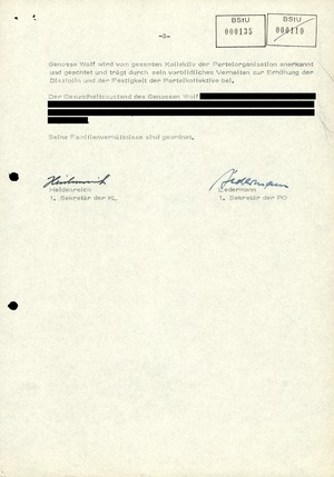 Beurteilung des Leiters der Hauptverwaltung A Markus Wolf