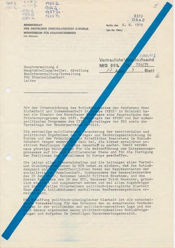 Anweisung Mielkes die Folgen der KSZE-Vereinbarungen abzuschätzen