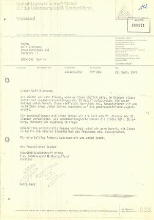 Einladung der IG Metall an Wolf Biermann zu Auftritten bei Jugendveranstaltungen