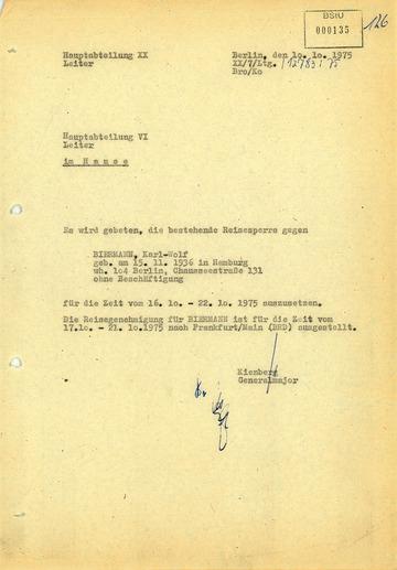 Aufhebung der Reisesperre gegen Wolf Biermann vom 16.10. bis 22.10.1975