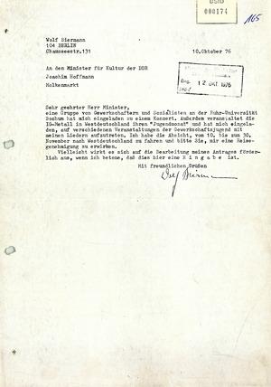 Reiseantrag Wolf Biermanns an das DDR-Kulturministerium vom 10. Oktober 1976