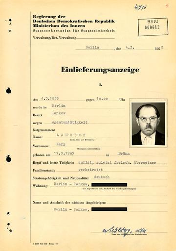 Einlieferungsanzeige von Karl Laurenz