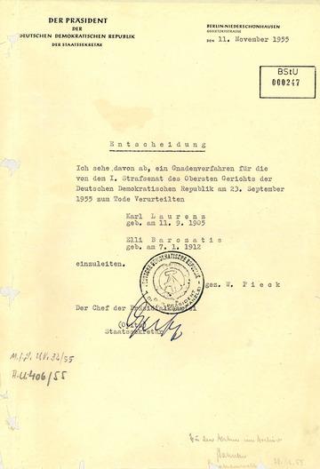 Ablehnung der Gnadengesuche für Elli Barczatis und Karl Laurenz