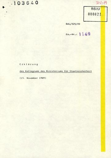 """""""Erklärung des Kollegiums des Ministeriums für Staatssicherheit"""" zur Perspektive des MfS"""