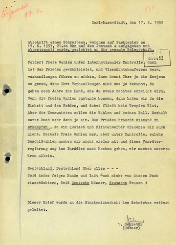 Abschrift eines Briefes mit Forderung nach freien Wahlen