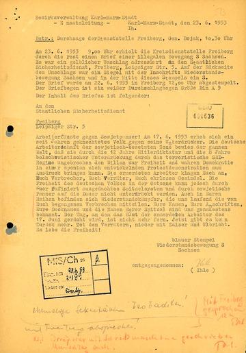 """Drohbrief der """"Widerstandsbewegung S Sachsen"""" an die Stasi-Dienststelle Freiberg"""