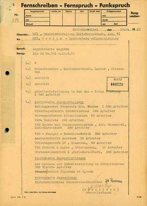 Fernschreiben der Bezirksverwaltung Karl-Marx-Stadt zu verhinderten Streikaktionen