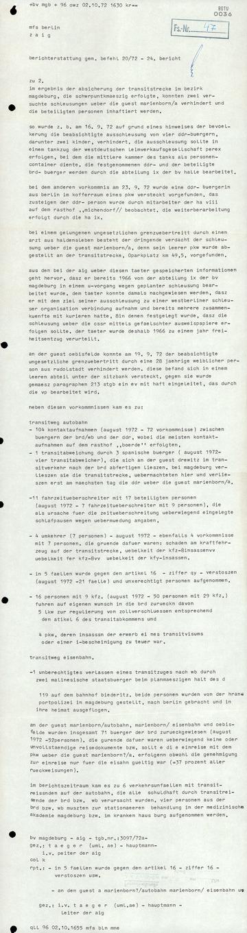 Berichterstattung gemäß Befehl 20/72