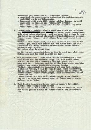 Fernschreiben aus Seoul vom 20.9.1988