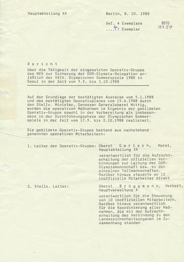 Bericht über die Tätigkeit der eingesetzten Operativ-Gruppe des MfS zur Sicherung der DDR-Olympia-Delegation vom 9.9. bis 3.10.1988