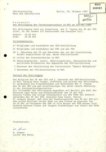 Protokoll der Aktivtagung der MfS-Parteiorganisation am 18. Oktober 1989