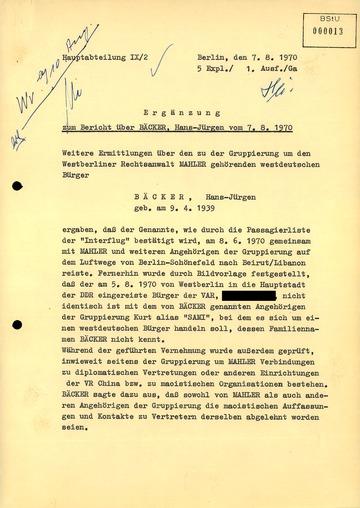 Ergänzung zum Bericht über die Festnahme Hans-Jürgen Bäckers auf dem Flughafen Schönefeld