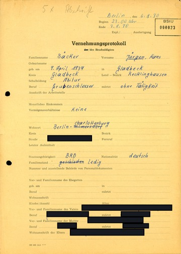 Protokoll über die Vernehmung Hans-Jürgen Bäckers nach seiner Einreise in die DDR