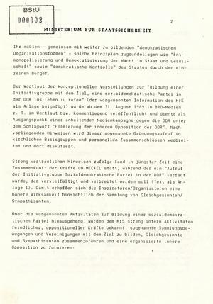 Information über Bestrebungen oppositioneller Kräfte zur Schaffung DDR-weiter Sammlungsbewegungen