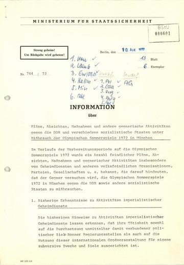 Information über Pläne, Absichten, Maßnahmen und andere Aktivitäten gegen die DDR und verschiedene sozialistische Staaten unter Mißbrauch der Olympischen Sommerspiele 1972 in München