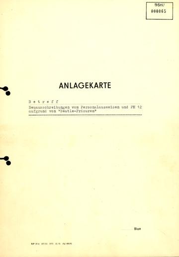 """Anlagekarte zur Neuausschreibung von Personalausweisen wegen """"Beatle-Frisuren"""""""