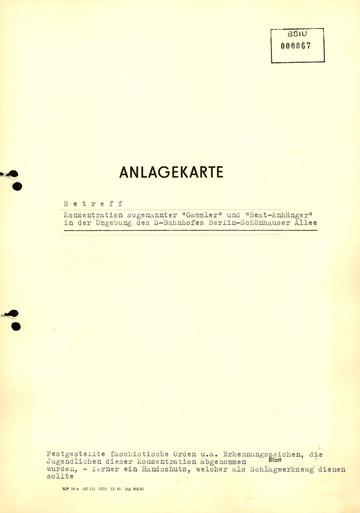 """Anlagekarte zu """"Gammlern"""" und """"Beat-Anhängern"""" in Berlin-Schönhauser Allee"""