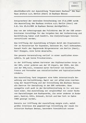 """Experiment Bauhaus"" - das Bauhaus-Archiv West-Berlin in Dessau"