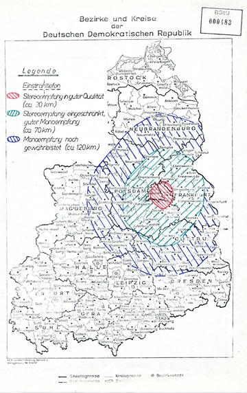Empfangsgebiet von Radio Glasnost in der DDR