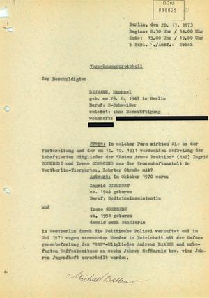 """Protokoll über die Vernehmung Michael """"Bommi"""" Baumanns nach seiner Einreise in die DDR mit falschen Papieren"""