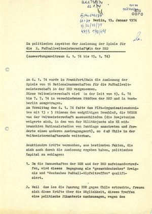 Politische Aspekte der Auslosung zur Fußball-Weltmeisterschaft 1974