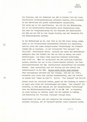 Politische Einschätzung zur Lage und den Vorbereitungen zur Fußball-Weltmeisterschaft 1974