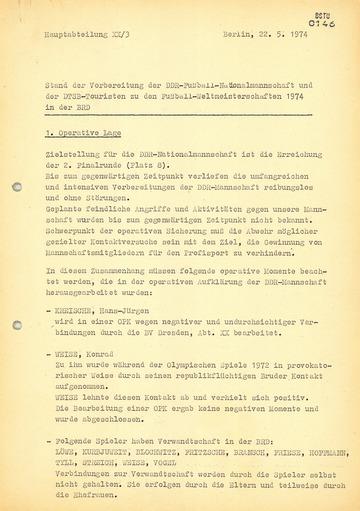 Überwachung der DDR-Mannschaft während der Fußball-Weltmeisterschaft 1974