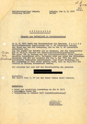 Angeblicher Drohbrief der RAF zu einem Anschlag auf das Hamburger Volksparkstadion während der WM 1974