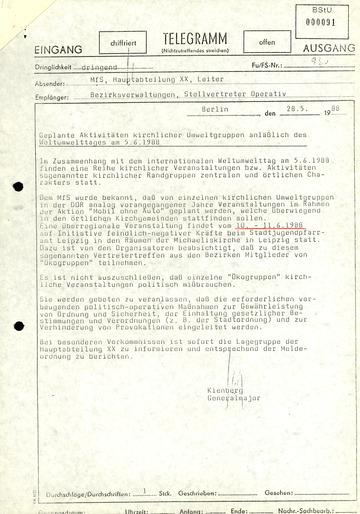 Hinweis auf geplante Aktivitäten kirchlicher Umweltgruppen zum Weltumwelttag 1988