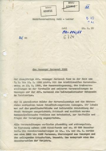 Geheimer Bericht an die SED-Führung im Bezirk Suhl zum Wasunger Karneval 1988
